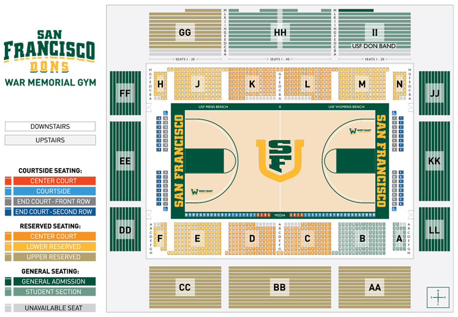 Ticket Central Seating Charts University Of San Francisco Athletics
